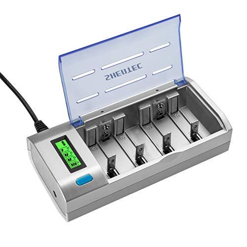 Shentec Caricabatterie Universale per AA e AAA C D e 9V Ni-MH Ni-CD Batterie Ricaricabili, Caricatore Batterie con LCD Display Retroilluminato