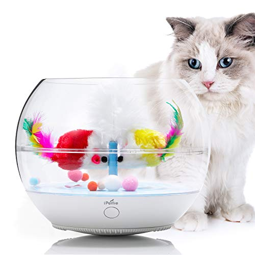 iPettie Fish Chaser Interactive Cat Toy, Fish Bowl-Shaped Tumbler Pet Toy with Automatic Swimming Feather Fish, Ultra-Quiet, for Kitten Indoor Self Play Enrichment