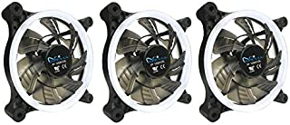 APEVIA 312L-CWH 120mm Silent Dual Rings White LED Fan with 32 x LEDs & 8 x Anti-Vibration Rubber Pads (3 Pk)