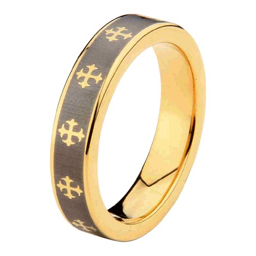 6mm Celtic design Cross Tungsten Carbide Gold Plated Comfort-Fit Wedding Band Ring (Size 5 to 15) - Size 11.5