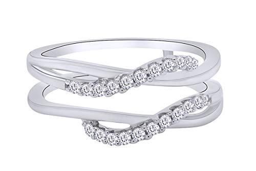 AFFY Sterling Silver Delicate Bypass Infinity Style Vintage Wedding Ring Guard Enhancer with Cubic Zirconia (0.50 ct. tw.) Ring Size-8