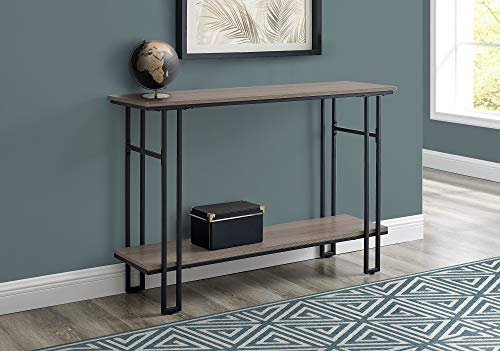 "Monarch Specialties Entryway Hallway Sofa Accent Storage Shelf for Livingroom Long Narrow Metal Frame Console Table, 48"" L, Dark Taupe"