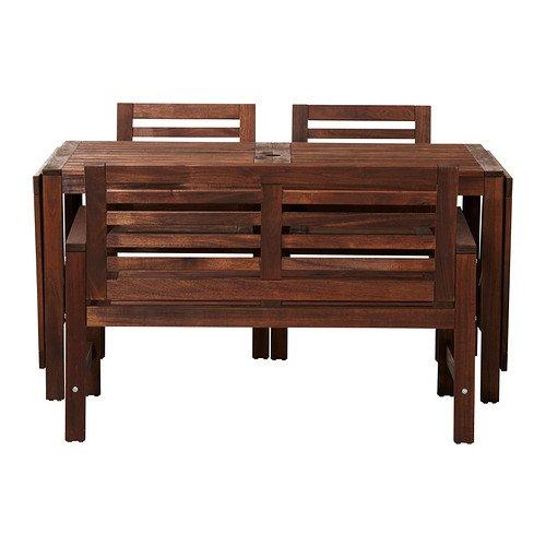 IKEAテーブル、2Armchairs +ベンチ、アウトドア、ブラウンStainedブラウン102018.292614.3034