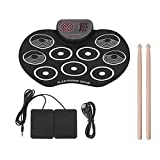 N/P Hand Roll Electronic Drum,Child Adult Beginner Portable Folding Entry Professional Play Built in Speaker and Battery, Drum Stick, Foot Pedals, Best Gift for Christmas Holiday Birthday