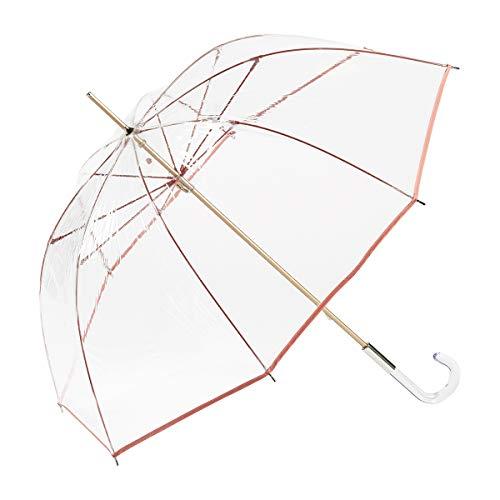 EZPELETA Paraguas Transparente Largo de Mujer con Forma de cúpula. Paraguas Mujer Transparente antiviento y Manual. Color (Coral)