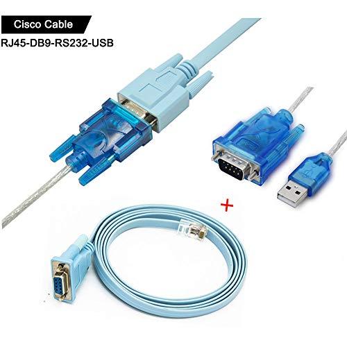 Cisco Konsolen kabel Serielles Kabel Rj45 auf DB9 & RS232 auf USB (2 In 1) Für Cisco Gerät 1.8m + 1M