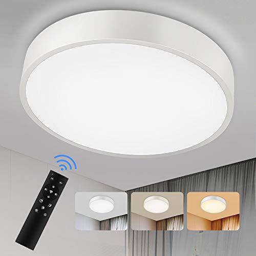 Lámpara LED de Techo 24W, Plafón de Techo LED color de luz y brillo regulable con mando a distancia y Plafón salón dormitorio habitación Pasillo Comedor Ø30cm [Clase de eficiencia energética A+]