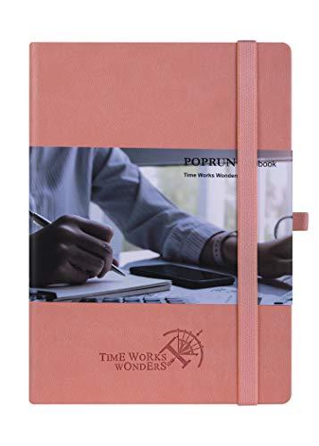 Bullet Journal Dotted Notizbuch A5 mit Hardcover Veganem Leder, 120 g/m² Papier Cremefarben, 155 Nummerierte Seiten, Innentasche, Kartenfächern, Gummiband, Stifthalter(gepunktet, Rosa)