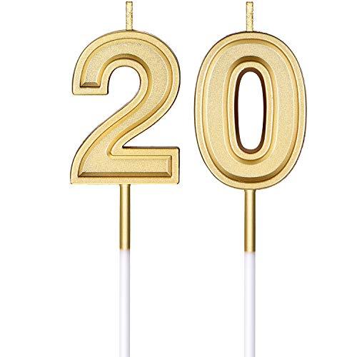 20. Geburtstag Kerzen Kuchen Ziffer Kerzen Happy Birthday Kuchen Kerzen Topper Dekoration für Geburtstag Hochzeit Jahrestag Feier Lieferungen