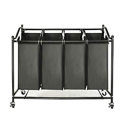 GOJOOASIS Wäschekorb Wäschesammler mit 4 abnehmbaren Stofftaschen Wäschebehälter auf Rollen 4 x 35 Liter (Schwarz)