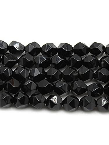 Natural facetado negro ágata ónix espaciadores de piedra suelta cuentas redondas DIY pendientes pulsera para hacer joyas 15 pulgadas Strand 6 8 10 mm negro 10 mm aprox 30 cuentas