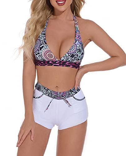 Yuson Girl Costume da Bagno Bikini a Due Pezzi Costume da Bagno Push-up con Stampa Sexy Scollo all'Americana Reggiseno Regolabile Pantaloncini Triangolo Abiti da Spiaggia(A, M)