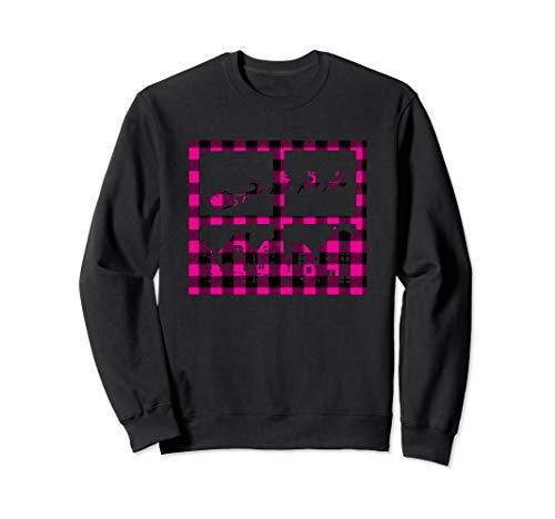 Santa Sleigh-Ren-Ausgangsfenster-Uhr-Rosa-Plaid-Weihnachten Sweatshirt