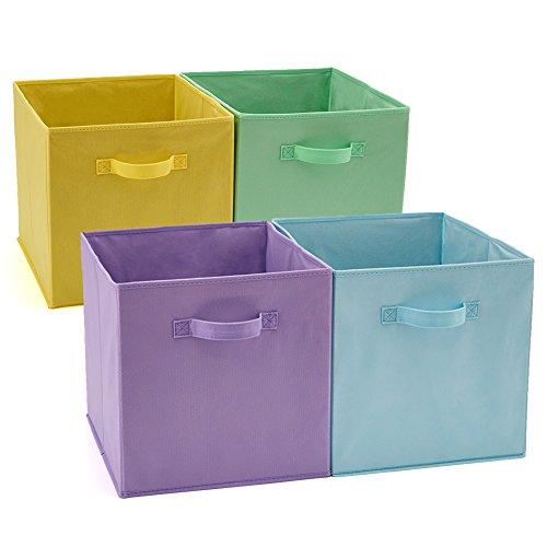 EZOWare Caja de Almacenaje x 4 Unidades, Almacenaje Juguetes, Caja para Ropa (33 x 38 x 33 cm) (Colores Variados)