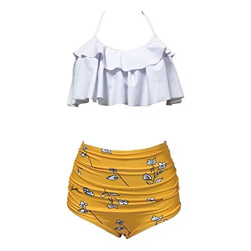 Women Two Piece Swimsuit Halter Ruffled Flouce Bathing Suit High Waist Bikini Swimwear (Yellow-B, M)