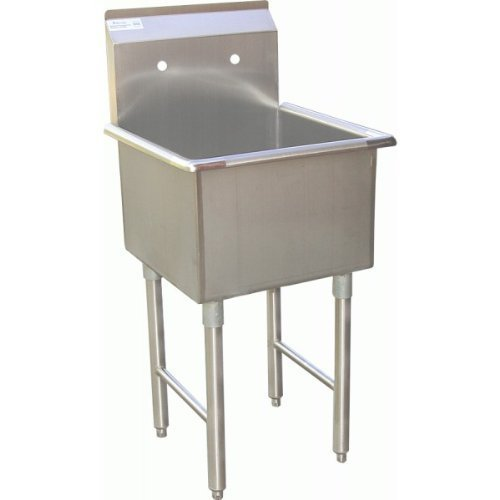 ACE 1 Compartment Stainless Steel Commercial Food Preparation Sink w/Crossing Bar on Legs ETL Certified (18x18 Tub)