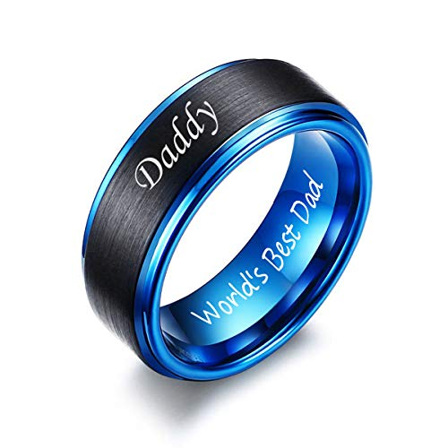 VNOX Tungsten Two-Tone Daddy World's Best Dad Engraved Wedding Bands Rings Birthday Gift for Men Dad,Size 11