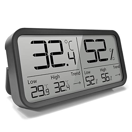 AngLink Thermomètre Hygromètre Intérieur Numérique à Haute Précision,℃/℉Commutable, Thermo Hygromètre Indicateur du Maison Bureau Cuisine
