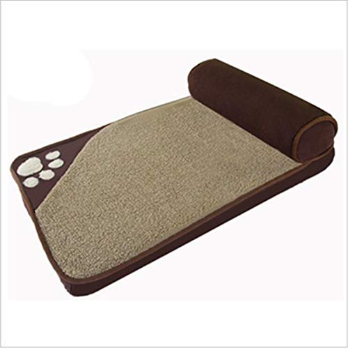 EANSSN Hundebett, quadratische Haustiermatte, weicher Schwamm, atmungsaktiv, abnehmbares und waschbares mittelgroßes Kennel-Hundebett, geeignet für Katzen und Hunde geeignet,Braun,M