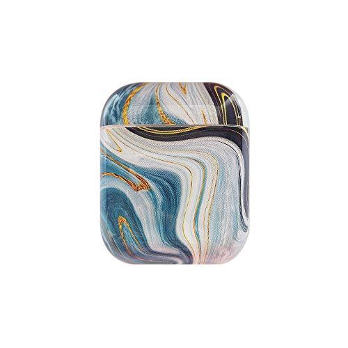JAWSEU Funda Compatible con AirPods 1 & AirPods 2, Mármol Brillante Diseño Funda para Chica Mujer Duro PC Protectora Estuche Mini Bolsa Almacenamiento para Auriculares Bluetooth,Color