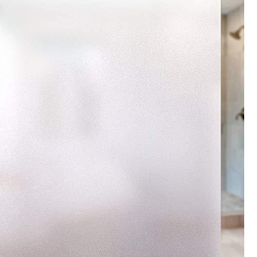 rabbitgoo Fensterfolie Blickdicht Sichtschutzfolie Selbsthaftend Milchglasfolie Anti-UV Klebefolie Statisch Haftende Kleberlos Folie Für Büro Badzimmer 44.5 x 200 cm Weiß Matt