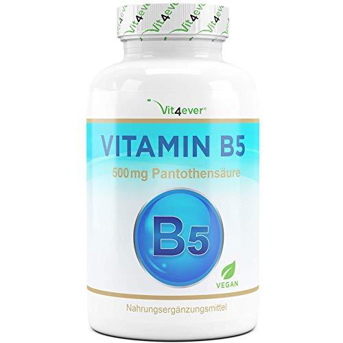 Vitamin B5-500 mg - 180 Kapseln - Pantothensäure - Hochdosiert - Vegan - Laborgeprüft (Wirkstoffgehalt & Reinheit) - B Vitamin für Haut & Nerven - Premium Qualität