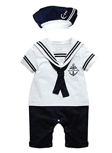 Paisdola Traje de Mameluco Marinero para niños (White,90(6-12 Month))
