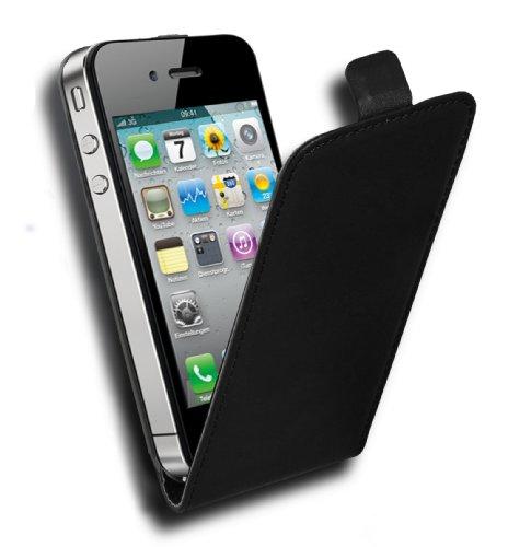 Cadorabo Funda para Apple iPhone 4 / iPhone 4S in Negro DE Caviar - Cubierta Proteccíon Estilo Flip de Cuero Sintético Liso - Etui Case Cover Carcasa