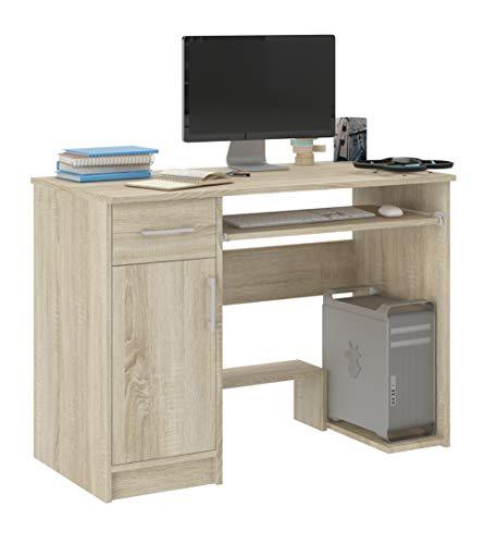 FRAMIRE N-10 Schreibtisch in Sonoma Eiche, Computertisch mit 1 Schubladen, Schreibtisch für Schlafzimmer, Wohnzimmer, Studio, 90 x50 x 73 cm