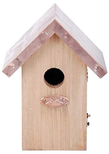Esschert Design Nistkasten, Vogelhaus Zaunkönig in braun mit Kupferdach, ca. 14 cm x 11 cm x 20 cm