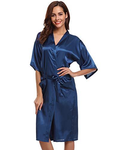Aibrou dames satijnen ochtendjas Kimono lange badjas pyjama negligé nachthemd nachtkleding ondergoed V-hals met riem
