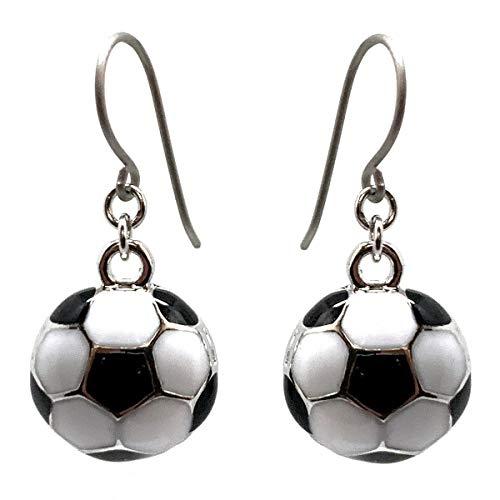 [happy new earrings] ピアス 両耳ペア チタン 金属アレルギー対応 サッカーボールのチャーム スポーツ 試合観戦 プレゼントに