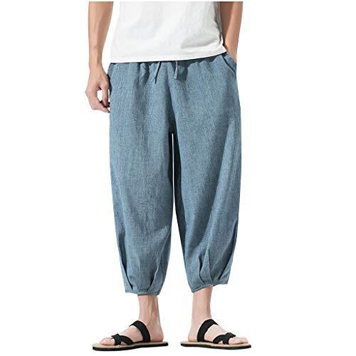 Mens Casual Elastic Waist Linen Capri Wide Leg Baggy Harem Pants Trousers Beach Linen Jean Jacket Summer Pants Blue