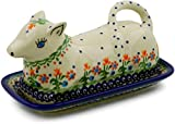 Polish Pottery Butter Dish 8-inch Spring Flowers
