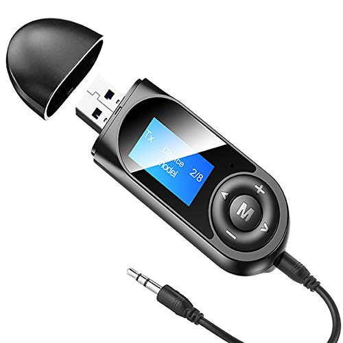 Pagaria 2 in 1 LCD Display Bluetooth 5.0 Transmitter Receiver 3.5mm Stereo Audio Adapter for Car, TV, Speakers, Built in Mic, Model: T13