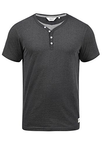 !Solid Dorian Herren T-Shirt Kurzarm Shirt Mit Grandad-Kragen, Größe:M, Farbe:Med Grey M (8254)