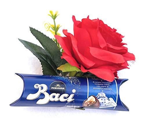 Festa Della Mamma Auguri Baci Perugina 'Festa della Mamma' - Idea Regalo Tubino Perugina Classici 37,5g + Rosa Rossa artificiale