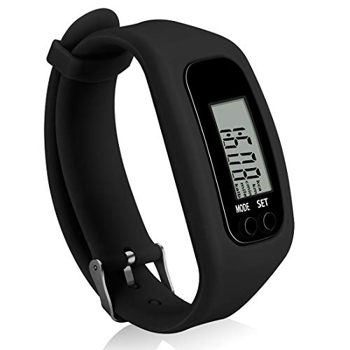 Bomxy Fitness Tracker Watch ,Simply Operation Walking Running Pedometer with Calorie Burning and Steps Counting Easy use Step Tracker (Black-81F99)