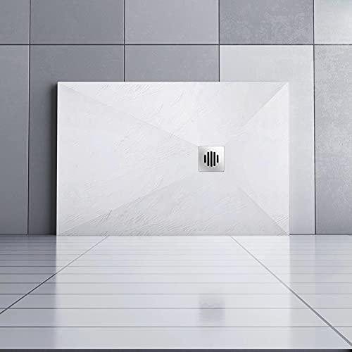 AICA receveur de douche 140x90cm Rectangulaire Extra plat Blanc antiderapant avec une grille en Inox
