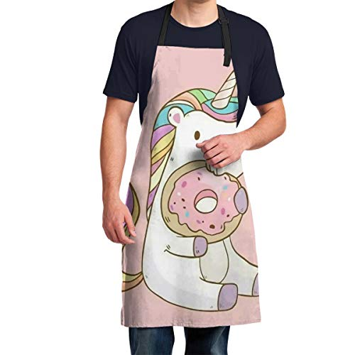 Rainbow Pink Unicorn with Doughnut Bib Apron for Women, Adjustable Kitchen Aprons with Extra Long Ties Waterdrop Resistant for Cooking, Grill and Baking