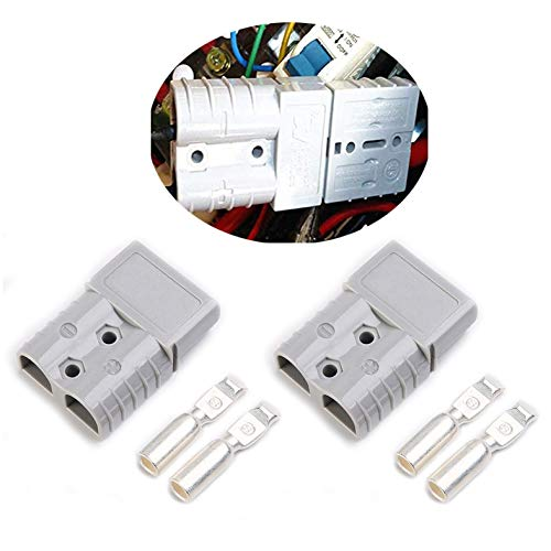 Mr.Brighton LED 1 Set 50Amp 2 Poles Power Connector Plug Grey w/Terminals for #6 AWG Wire Anderson Compatible [2 housing+4 Terminal pins] -  #6Grey50A