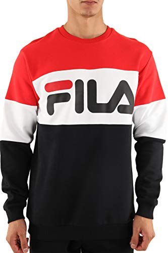 Fila Sweatshirt Herren Straight Blocked Crew 681255 A089 True Red Black Bright White, Größe:S