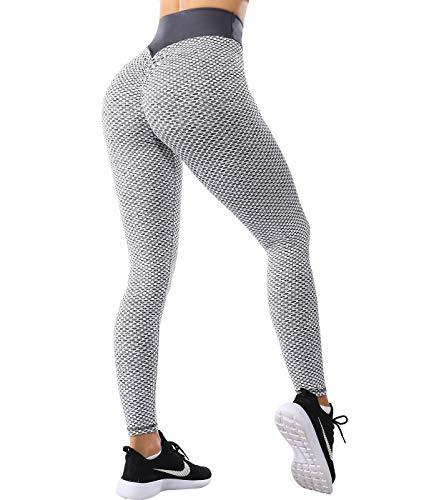 SLIMBELLE® Legging de Sport Anti Cellulite Push Up Butt Lift Pantalon de Compression Taille Haute pour Yoga Fitness Slim Fit,Gris-2,S (61-69cm Taille)