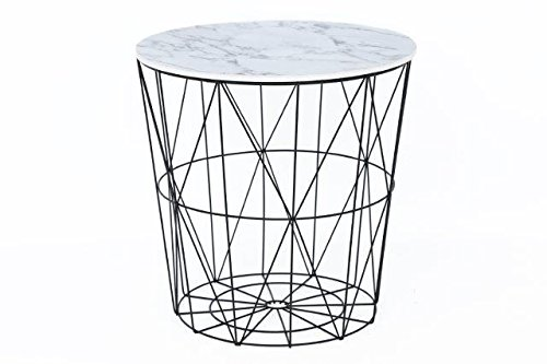 Annibells at Home Modern Black Metal and White Marble Effect Wood Table with Lift of Lid