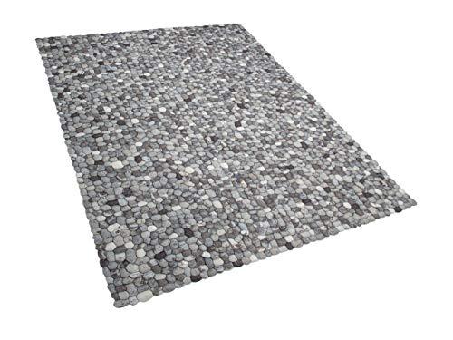 Beliani Teppich rechteckig Wollteppich Filzkugelteppich 160 x 230 cm grau Amdo