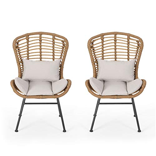 Great Deal Furniture Qearl Outdoor Club Chairs (Set of 2), Light Brown and Beige