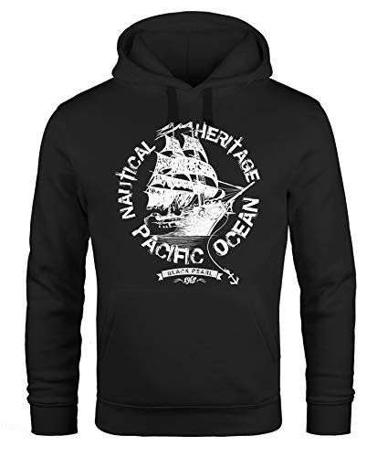 Neverless Hoodie Herren Segel Schiff Black Pearl Kapuzen-Pullover Männer schwarz 3XL