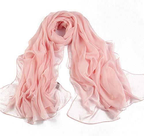Unknow SAMYUE Dames sjaal chiffon oversized sjaal voorjaar zomer zomer herfst dunne sjaal strandhanddoeken - meerdere kleuren (180 × 145 cm) roze/A