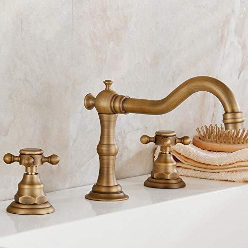 CZOOR Rubinetti per lavabo Rubinetto antico bagno Bronzo Rubinetteria 3 fori Maniglie per mobili Lavabo doppio supporto Lavabo @Antique