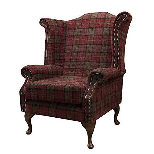 High Back Armchair Tartan Fabric Wing Chair Queen Anne Fireside Living Room